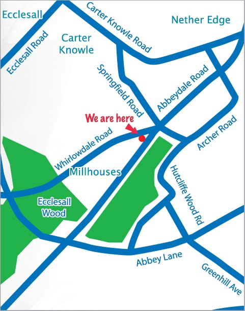Chiropractic Sheffield UK map